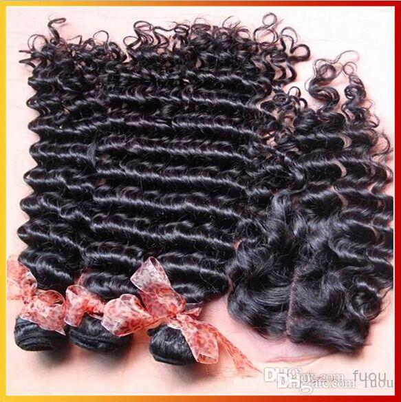 Top sin procesar Virginal brasileño del pelo onda profunda armadura del pelo rizado 3 paquetes con 1 pieza de cierre de encaje 4 * 4 tamaño nudo blanqueado envío gratis