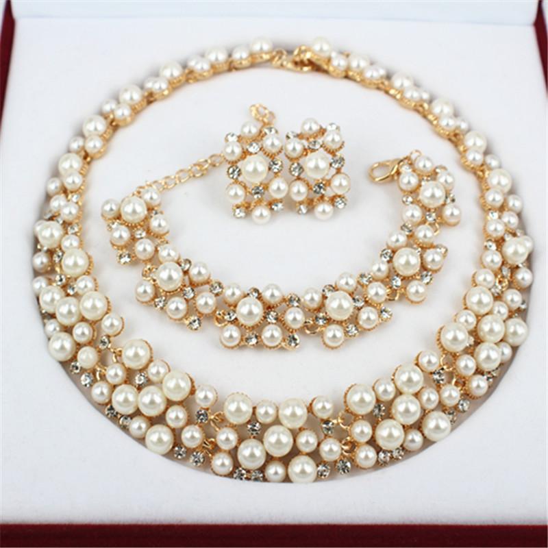 2016 New Fashion Imitation Pearl 18k Dubai Gold Necklace Beads ...