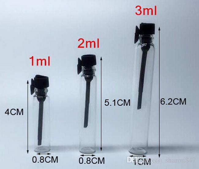 Freies verschiffen, 1 ML 2 ML 3 ML mini glas parfümfläschchen, parfüm Flüssigkeit probenfläschchen, tester flasche Rohr Bunte kappe