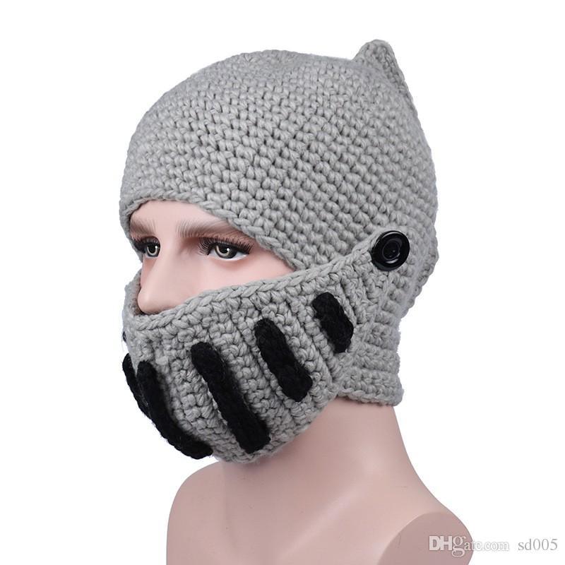 Roma Cavaleiro Gorros Máscara Com Bottoms Malha Crânio Cap Gorro Multi Função Para Homens E Mulheres Chapéu Preto Cinza 12 5br B