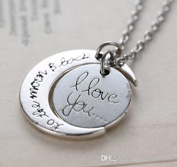 Collana di moda Collana di luna I Love You To The Moon And Back For Mom Sister Famiglia Catena a maglie a sospensione