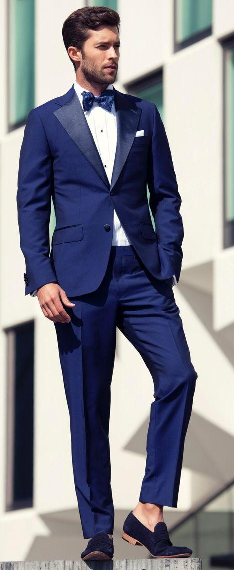Slim Fit Mens Suits Toyal Blue Wedding Tuxedos Two Buttons Jacket  ...