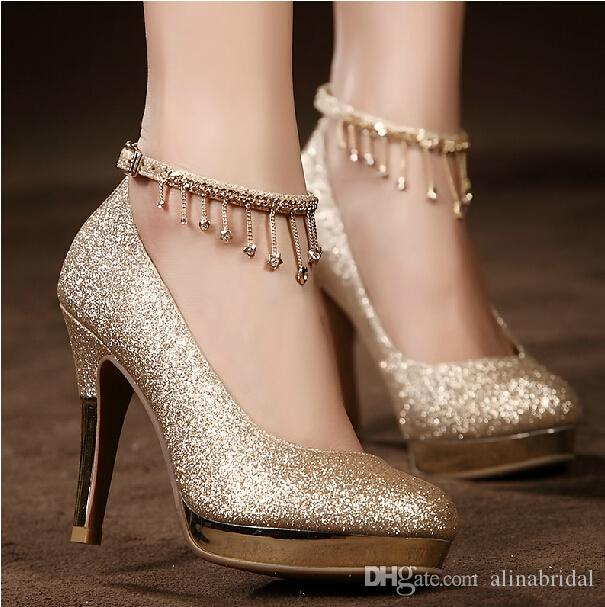 Bridal Shoes High Heels: 2017sparkling Golden Lace Up Wedding Bridal Shoes Crystals
