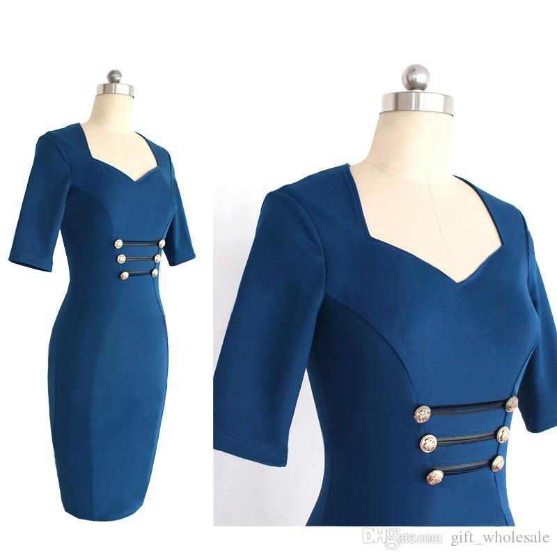 Dropshipping 2016 Newest Women Classic Blue Elegant V-Neck Button Bodycon Stretchy Cotton Blend Knee-Length Pencil Dresses S-XXL