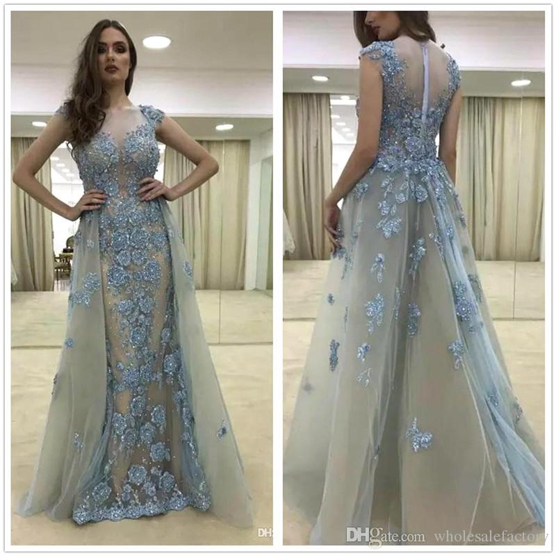 36ea412e1c 2018 New Luxury Blue Illusion Cap Neck Lace Evening Dresses Tulle Applique  Beaded Floor Length Formal Party Run Away Prom Gowns