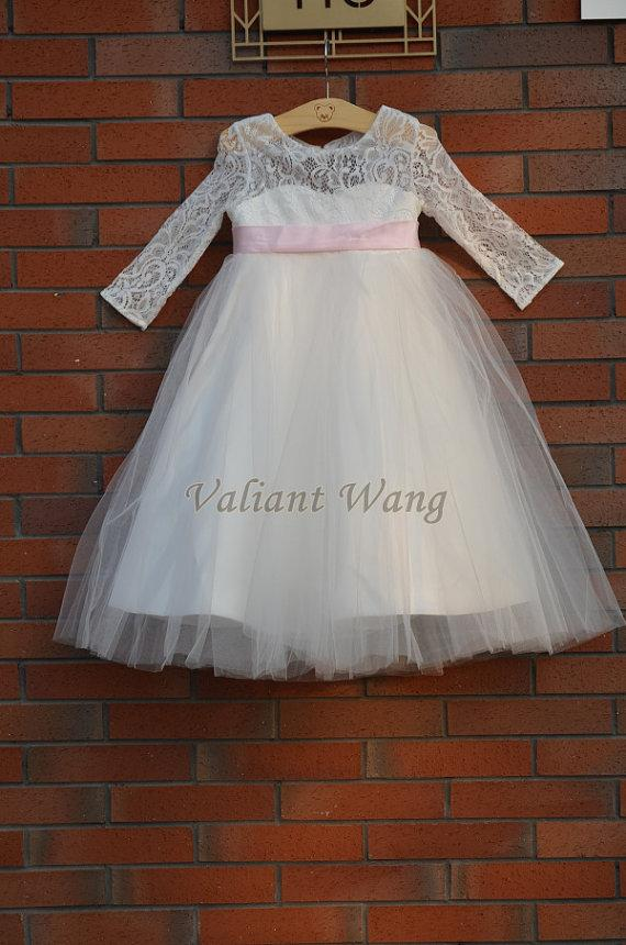 e7762f2dd2c Ivory Lace Tulle Flower Girl Dress Wedding Baby Girls Dress Pink Sash Bow  Rustic Baby Birthday Dress Knee Length Long Sleeves Party Dresses For Girls  ...