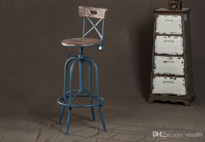 2019 Industrial Loft Style Wrought Iron Bar Stools Wood