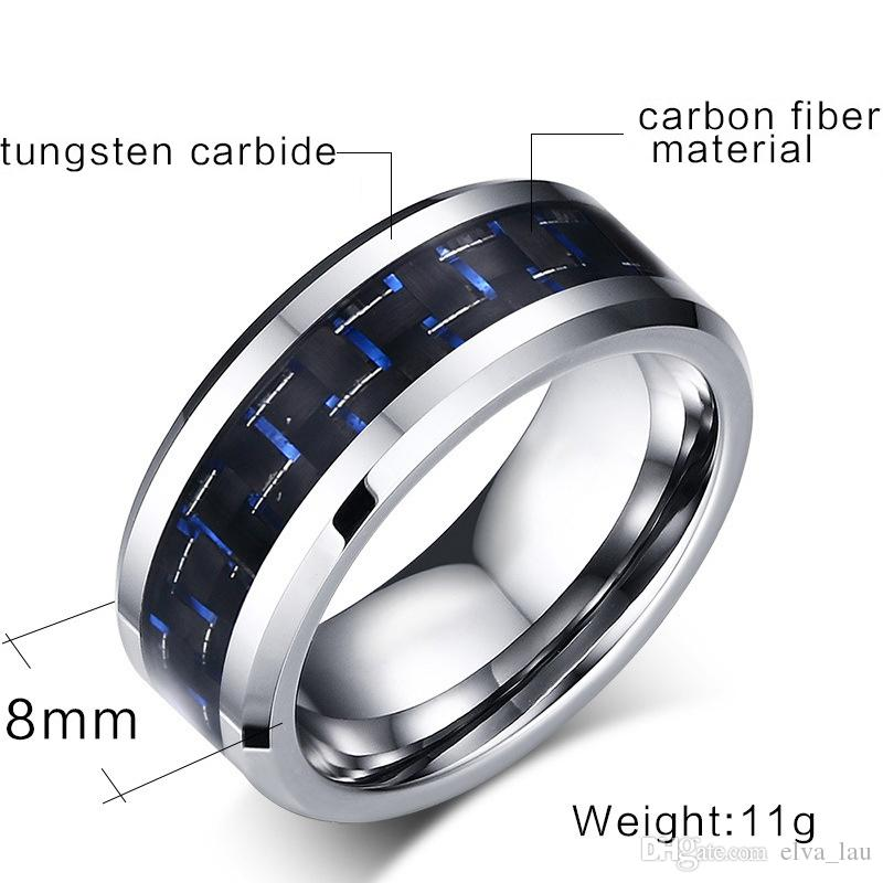 EURO-US Fashion Mens Rings Black & Blue Color Carbon Fiber Tungsten Carbide Wedding Ring for Men Jewelry US Size 7-12