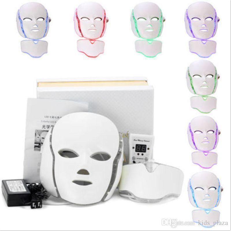 7 cara Terapia PDT luz LED de color de belleza Máquina Máscara facial Cuello Con Microcorriente dispositivo para la piel que blanquea el envío libre