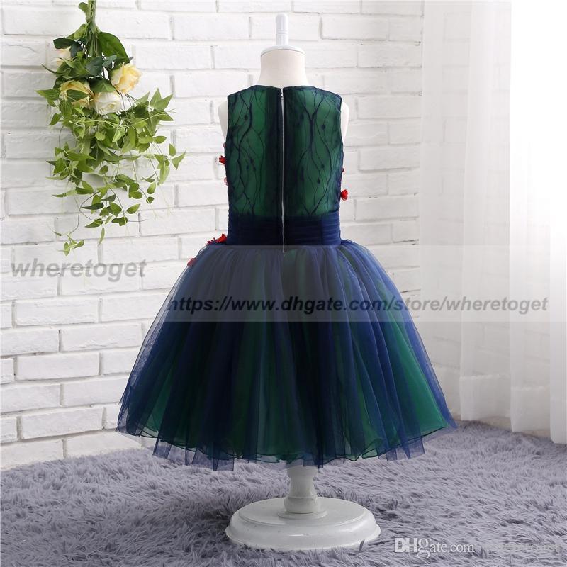 결혼식 발목 길이 여자 선발 대회 볼 가운 V 넥 저렴한 꽃 소녀 드레스 2019 해군 파란색과 emrald 녹색 영성체 드레스