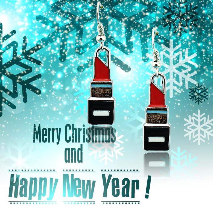 Nueva llegada cuelga los pendientes de plata de moda aleación de labios lápiz labial encantos pendientes para las mujeres Charistams joyería de la decoración