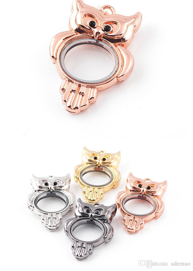 لحسن الحظ ، النمط الأوروبي ديي المجوهرات مربع شفاف الزجاج العائم الجرف العائمة سحر البومة قلادة متعدد الألوان دفعة مختلطة من أربعة لون