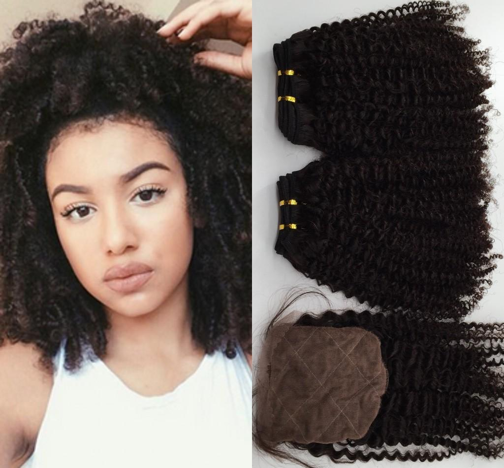 Silk Closure With Brazilian Hair Bundles Kinky Curly Remy Human Hair