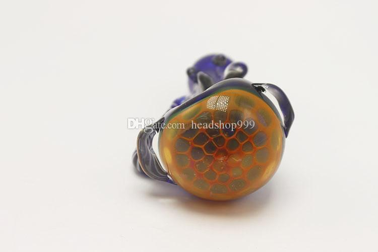 Smoking Blown Glass Hand Pipes Cheap Glass Tobacco Spoon Pipes Mini Small Bowl Pipe Unique Pot Pipes Smoking Pieces glass bong