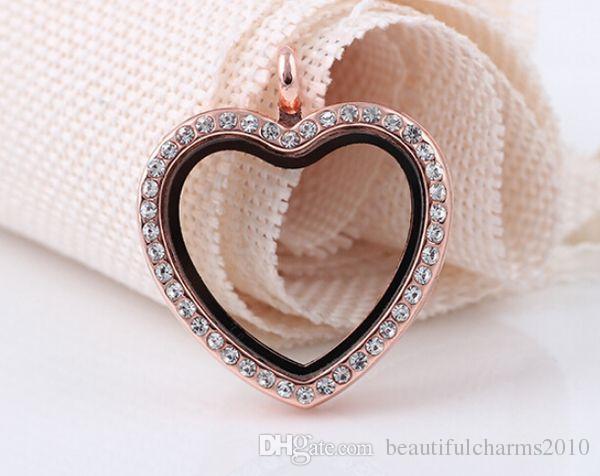 10 Adet / grup 4 Renkler TAM Rhinestones Şeftali Kalp Şekli Cam Yüzer Locket Kolye Kolye Zincir Yapımı Için Fit