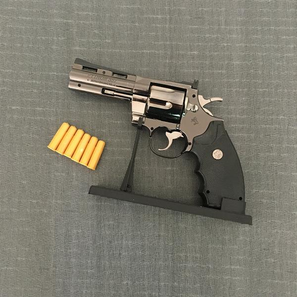 Python Revolver Briquet Métal Revolver Type Gun Gonflable Coupe-Vent Briquet Meubles Ornements Ornements Personnalisés 357 Pistolet Lighte