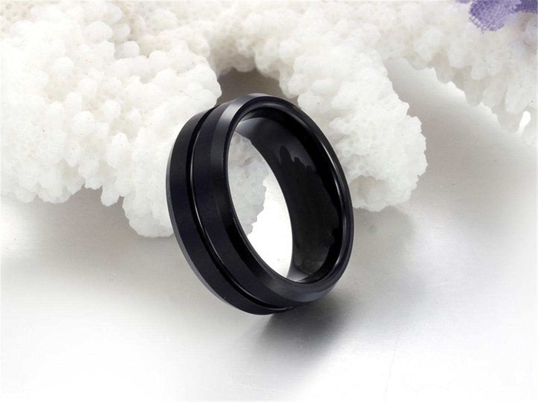 High Quality Mens Tungsten Carbide 8mm Vintage Antique Black Wedding Engagement Ring Matte Finish Grooved Center Band
