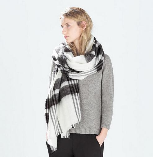 55734a7cb Lady Fashion Scarf Black White Blanket Oversized Tartan Scarf Wrap Shawl  Plaid Cozy Checked Pashmina Autumn Winter Scarves Black Shawl Cashmere Shawl  From ...