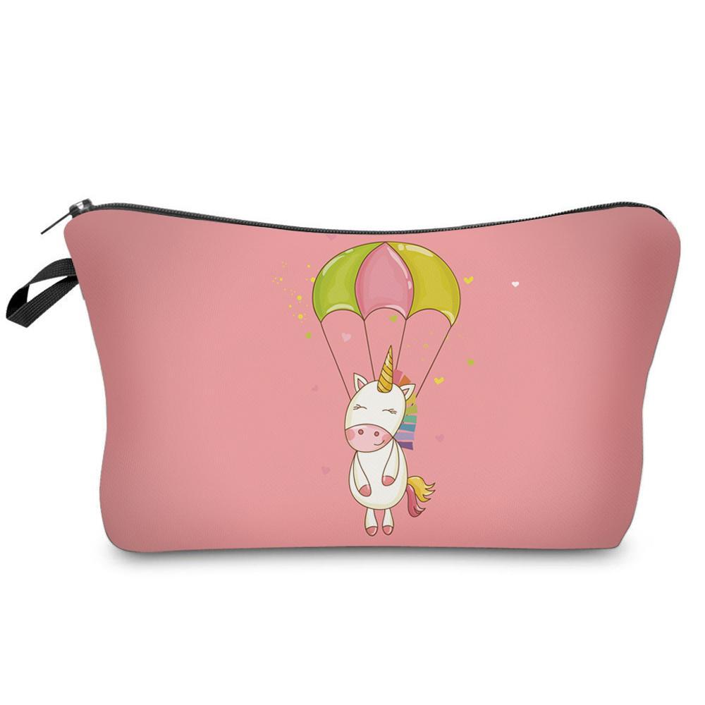 DAOXI 3D Printing Emoji Unicorn Portable Large Cosmetic Bag Storage Women for Traveling Makeup Necessaries