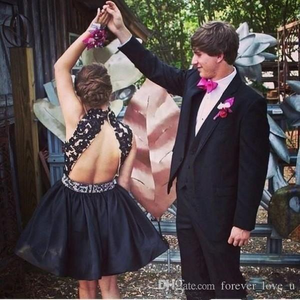 Sexy Short Prom Dresses Black A Line High Neck Beaded Lace Appliques Backless Taffeta Formal Party Gowns Sleeveless Custom Made Cheap