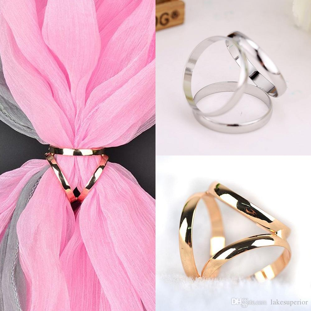 Simple Style Silk Scarf Buckle Shawl Ring Clip Women Girls Tricyclic ...