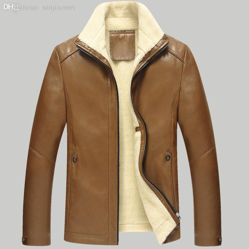 Online Cheap Fall Mens Brown Leather Jacket Fur Liner Italian ...