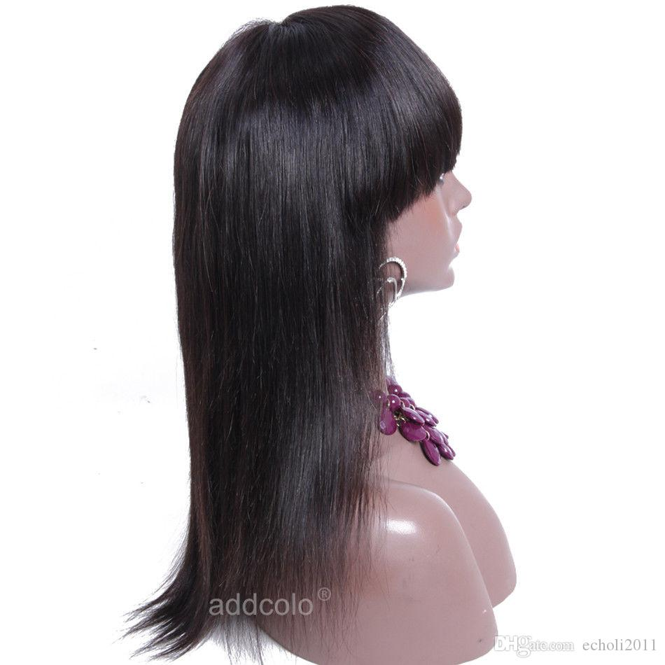 Glueless 360 Lace Wigs For Black Women with bang High 250% Density Lace Front Human Hair Wigs With Baby Hair Brazilian straight Wigs