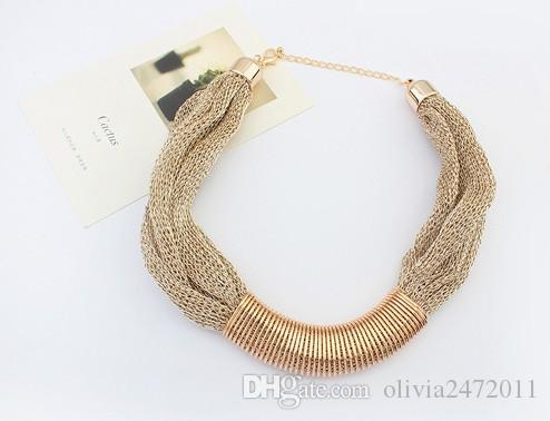 Bohemian Style Metal Multi layer Chain Choker Chunky Necklaces For Women Punk Jewelry Gifts HZ