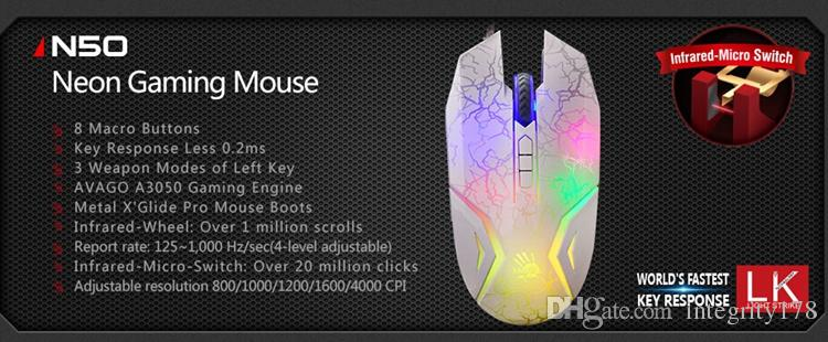4000 CPI Bloody N50 Neon gaming mouse mundo mais rápido resposta chave luz strick gaming mouse infravermelho-micro-switch mouse