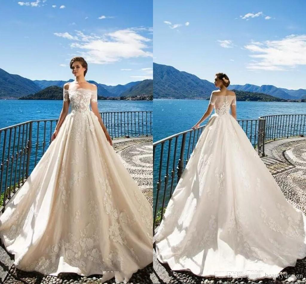 Compre Milla Nova 2018 Off The Shoulder Elegantes Vestidos De Novia ...