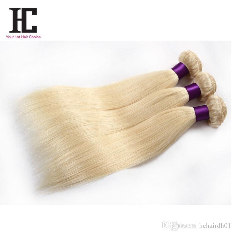 Top Malaysisches Reines Haar Glattes Blondes 613 Weiche Malaysische Nähen In Haarverlängerungen 3 Bundles Seidige Glatt Echthaar Webart