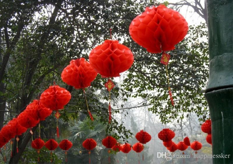 15 ~ 40cm Lanterna di carta di plastica del festival di pace brillante rossa le decorazioni della nuova casa della festa nuziale
