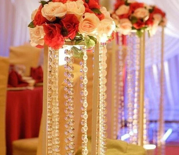 50mtransparent crystal octagonal beaded chain curtain acrylic bead 50mtransparent crystal octagonal beaded chain curtain acrylic bead garland chain craft supplies for wedding chandelier table decoration winter wonderland junglespirit