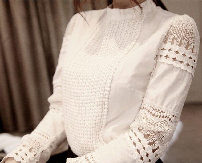 2015 Spring Autumn Woman White Blouses Plus Size Women's Blouse Elegant Lace Crochet Hollow Slim High Quality Chiffon Blusas Blouse Shirts
