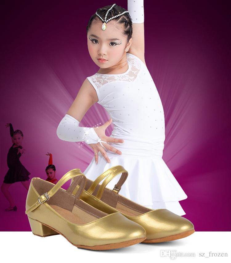 Movefun Children Ballroom Tango Latin Dance Shoes for Girls Kids Women black Dancing Shoes Low Heels Modern Square Dance Shoes A-0485