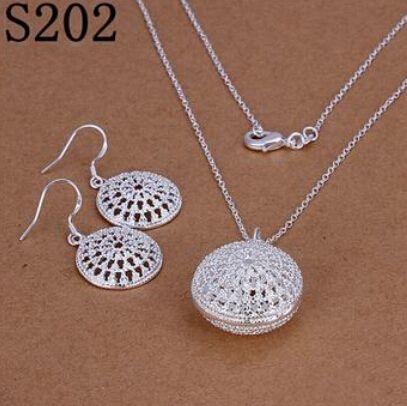 12 Styles 925 Sterling Silver Boucles d'Oreilles + Collier Ensemble de Bijoux