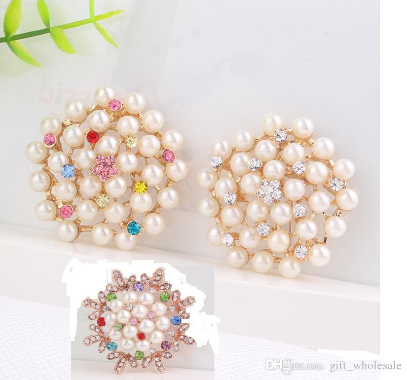 Colorful Vintage Gold Tone Faux Pearl&Crystal Flower Pin Brooch Wedding Costume Broach 3 Styles for choices