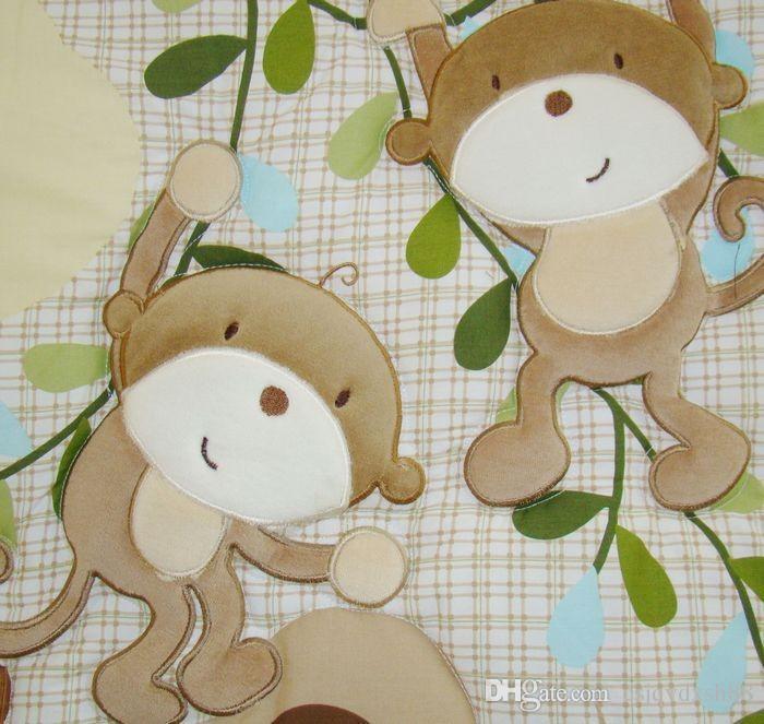 Crib bedding set 100%cotton design cartoon monkey Baby bedding set contains baby quilt bedskirt blanket bed around Urine bag Cot bedding