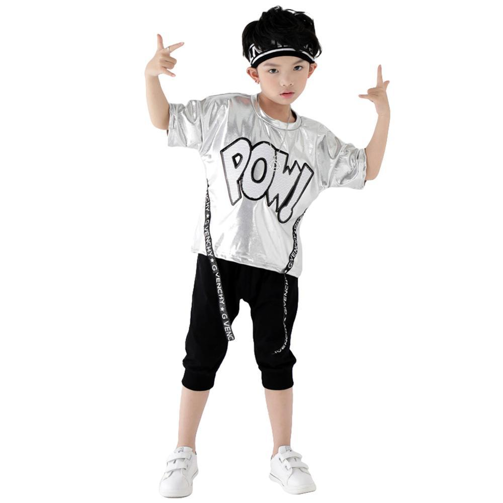 Kids Boys Hip Hop Clothing Sequins Street Dance Performance Costume Sliver Tshirt Shorts Suit 4 12Yrs