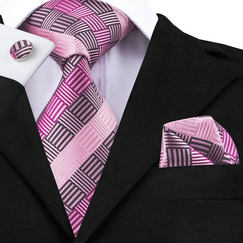 a63c6c20753d C-1473 Hi-Tie Corbatas geométricas para hombre Corbatas Moda Rosa Gris  Corbatas de seda para hombre Boda Trajes de negocios 8.5cm Corbatas Gravatas