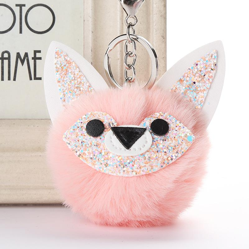 Naiveroo Plush Artificial Fur Pompom Key Chains Faux Rabbit Fur Ball Keychain Handbag Ring Ornament Pendant Gifts Accessories