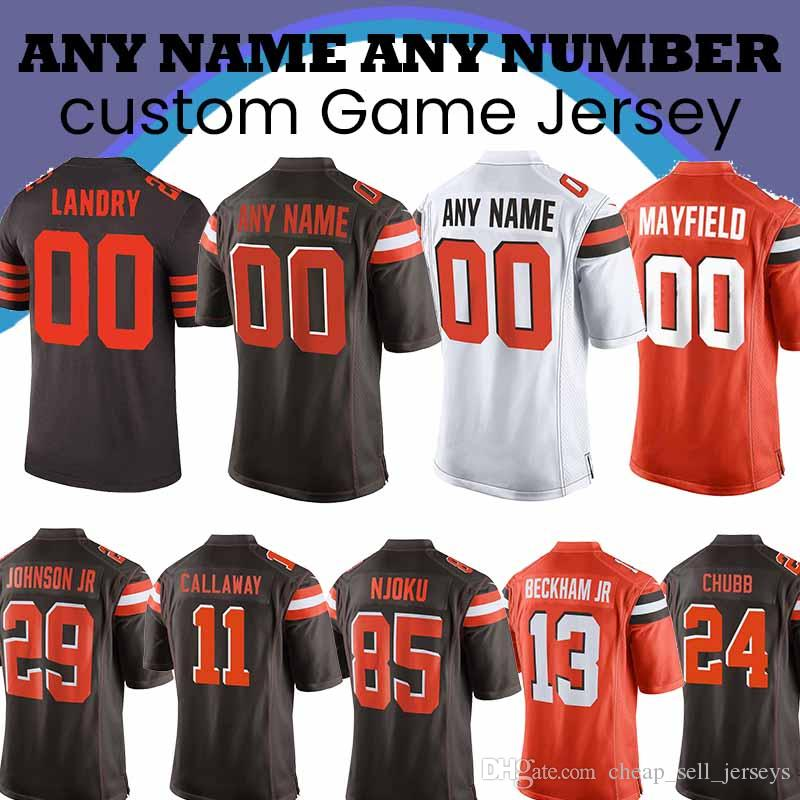 0e66a60aba2 2019 Customized Cleveland Jersey Brown Odell 13 Beckham Jr 6 Baker Mayfield  5 Tyrod Taylor 80 Jarvis Landry 31 Nick Chubb 73 Joe Thomas From ...