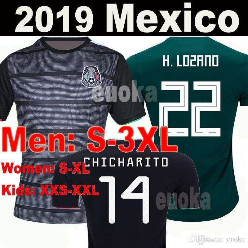 70d558d3e 2019 Black Mexico 2019 Gold Cup World Cup Soccer Jerseys Kit Chicharito Home  Away Football Shirts H.Lozano G.Dos Saints T Shirts From Outdoors fans