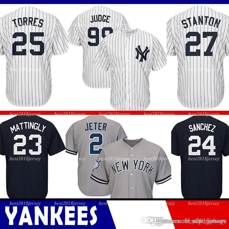 info for 82963 3c82c New York 99 Aaron Judge Yankees Jersey 2 Derek Jeter 3 Babe Ruth 23 Don  Mattingly 24 Gary Sanchez 42 Mariano Rivera Majestic Coolbase Jersey