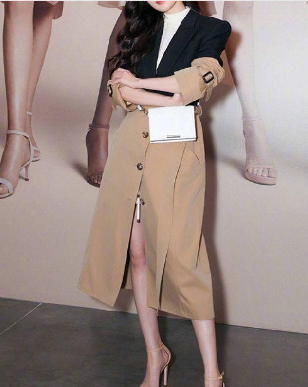 Tops blusão das mulheres e das Brasão Blusas Long Coat Trench Mulheres para o revestimento Mulheres emendado High Street Mulheres
