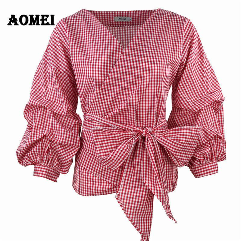44ba95e0ced 2019 Women Red Gingham Peplum Tops White 3/4 Puff Sleeve Checkered Blouse V  Neck Lady Summer Shirts Female Clothes Blusas Bow Tie C19041201 From  Shen8408, ...