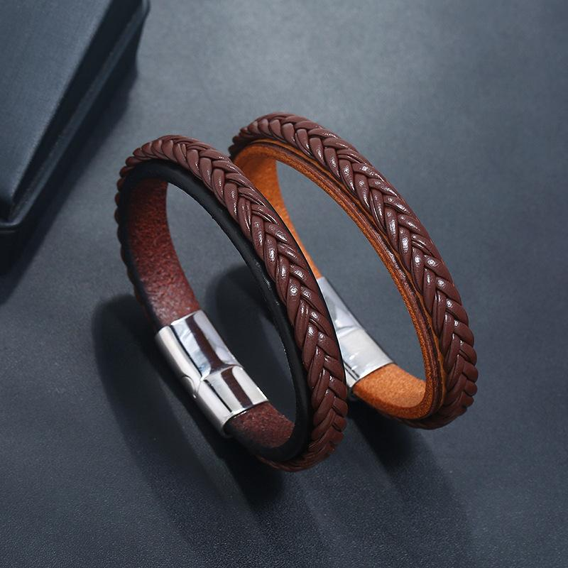 New Men Jewelry Punk Black Brown Braided Leather Bracelet for Men Stainless Steel Silver Magnetic Clasp Fashion Bangles Gifts