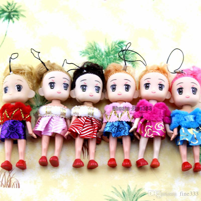 Kawaii Mini Fashion Doll Toys Korea Plush Doll Toy with Dress Cute Keychain Phone Pendant Girls Birthday Gift