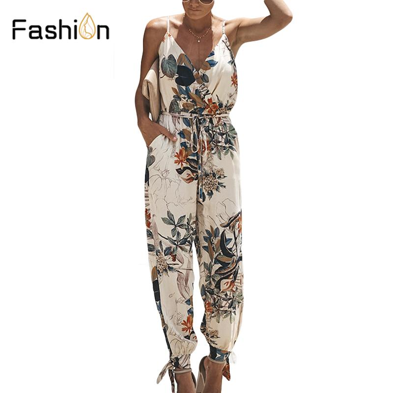 9eeb77892861 Women Print Jumpsuit Sexy V-Neck Clubwear Backless Playsuit Tie ...