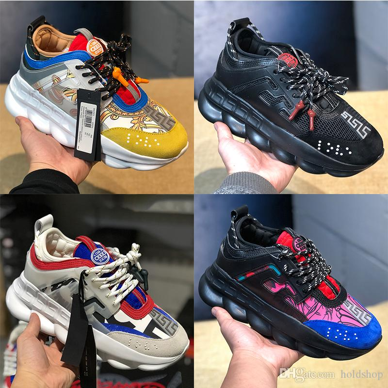 e94ae0f01ee662 2019 Luxury Chain Reaction Casual Designer Shoes Mens Womens 2019 Best  Quality Fashion District Medusa Link Embossed Sole Trainer US 5.5 11 From  Holdshop